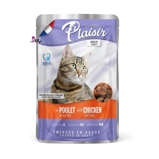 پوچ گربه پلایزر حاوی مرغ و جگر (100 گرم)