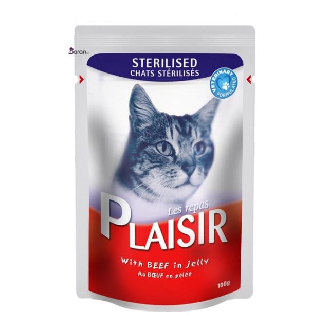 پوچ گربه عقیم شده پلایزر حاوی گوشت گاو در ژله (100 گرم)