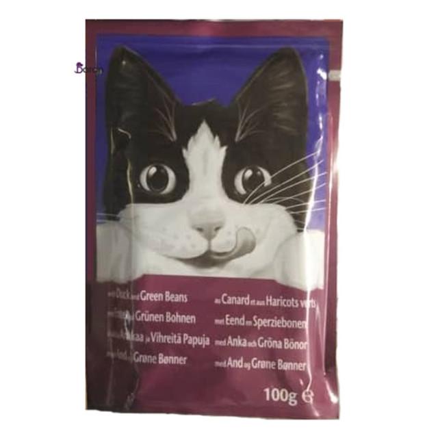 پوچ گربه فلیکس حاوی اردک و لوبیا سبز (100 گرم)