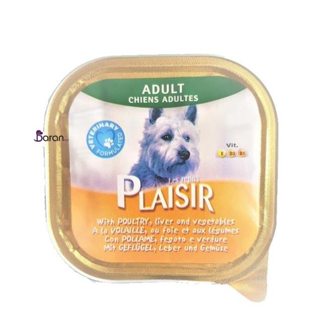 کنسرو سگ پلایزر حاوی گوشت مرغ، جگر و سبزیجات (300 گرم)