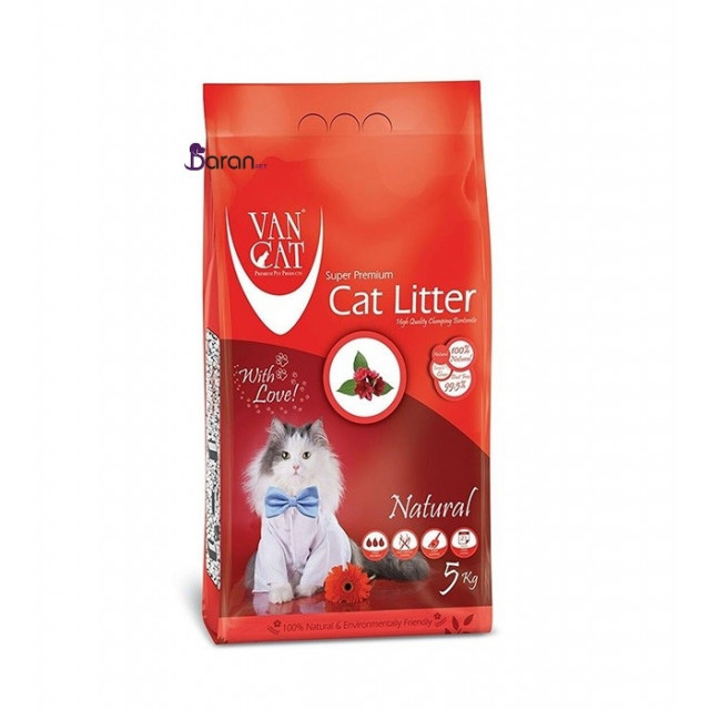 خاک گربه ون کت اولتراکلامپینگ بدون رایحه حاوی مواد آنتی باکتریال (5 کیلوگرم)