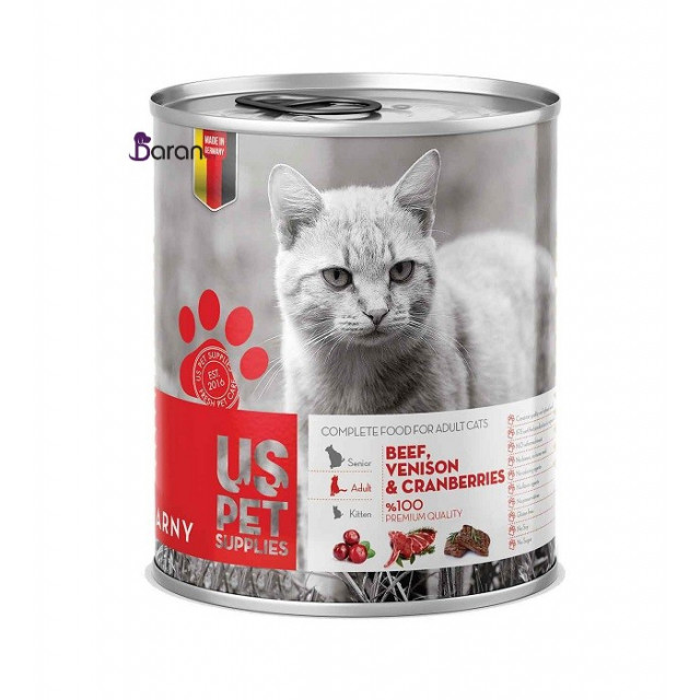 کنسرو گربه یو اس پت حاوی گوشت گاو و گوزن به همراه کران بری (800 گرم)