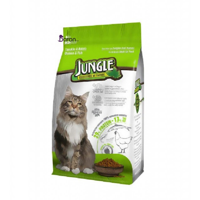 غذای گربه جانگل حاوی مرغ و ماهی (1/5 کیلوگرم)