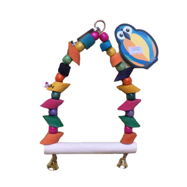 اسباب بازی تاب چوبی رنگی مخصوص پرندگان