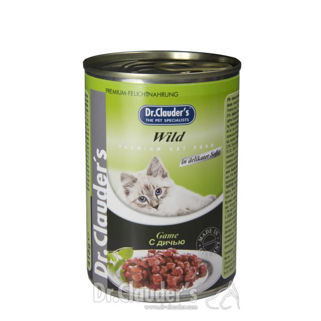کنسرو گربه دکتر کلادرز حاوی گوشت شکار :: Dr. Clauder's Premium Katze Wild