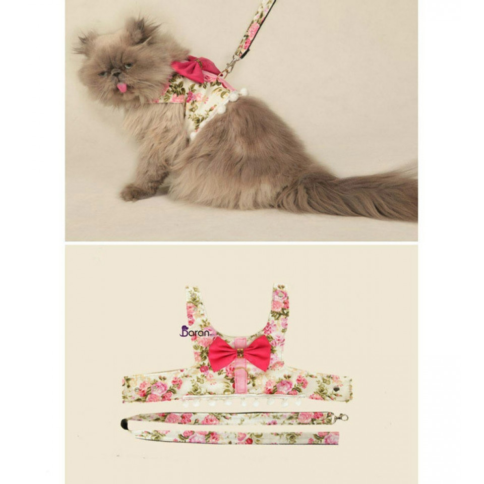 قلاده تنی گربه و سگ طرح گلدار