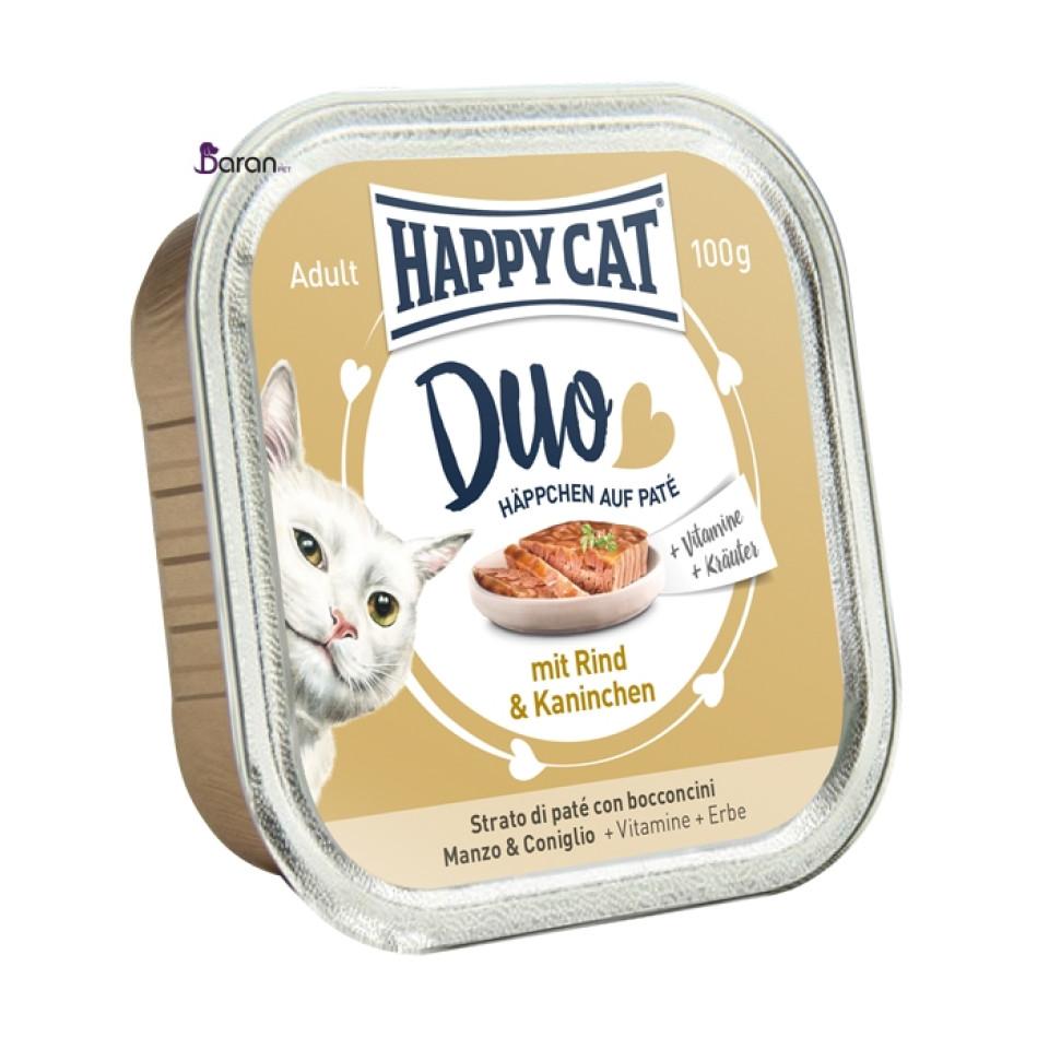 کنسرو گوشت گوساله و خرگوش هپی کت (100 گرم)