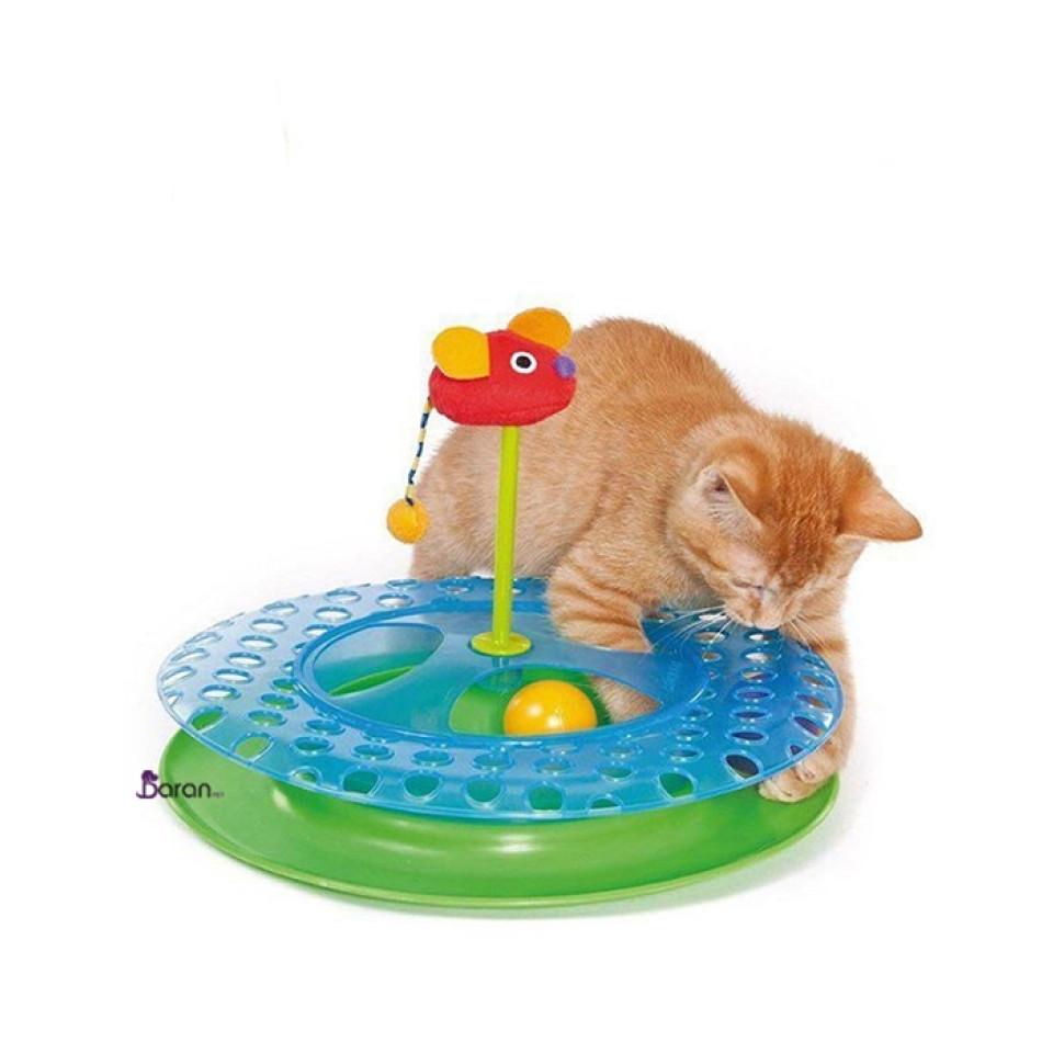 اسباب بازی ریلی گربه طرح گرد با موش
