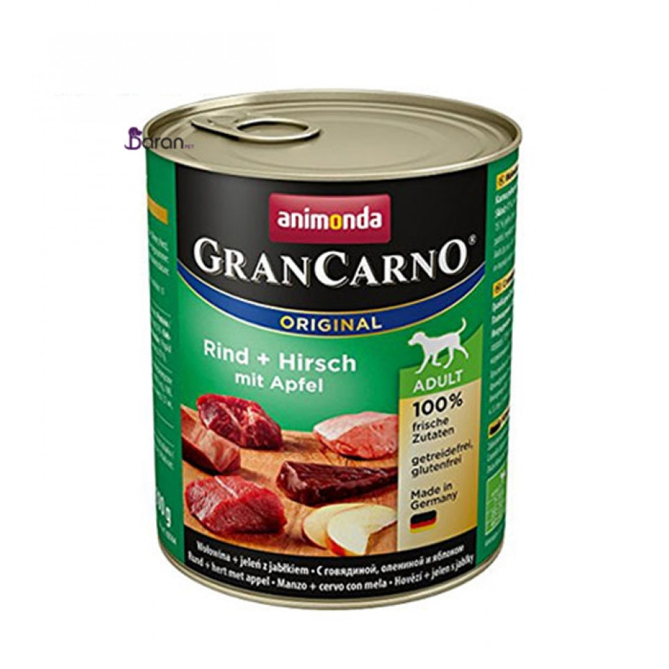 كنسرو سگ گرن کارنو حاوی گوشت گاو، گوزن و سیب (800 گرم)