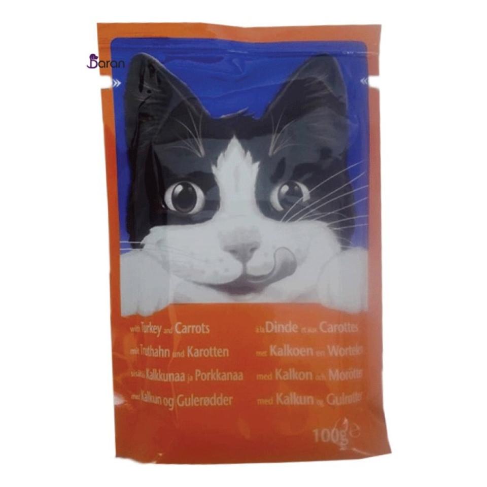 پوچ گربه فلیکس با طعم بوقلمون و هویج (100 گرم)