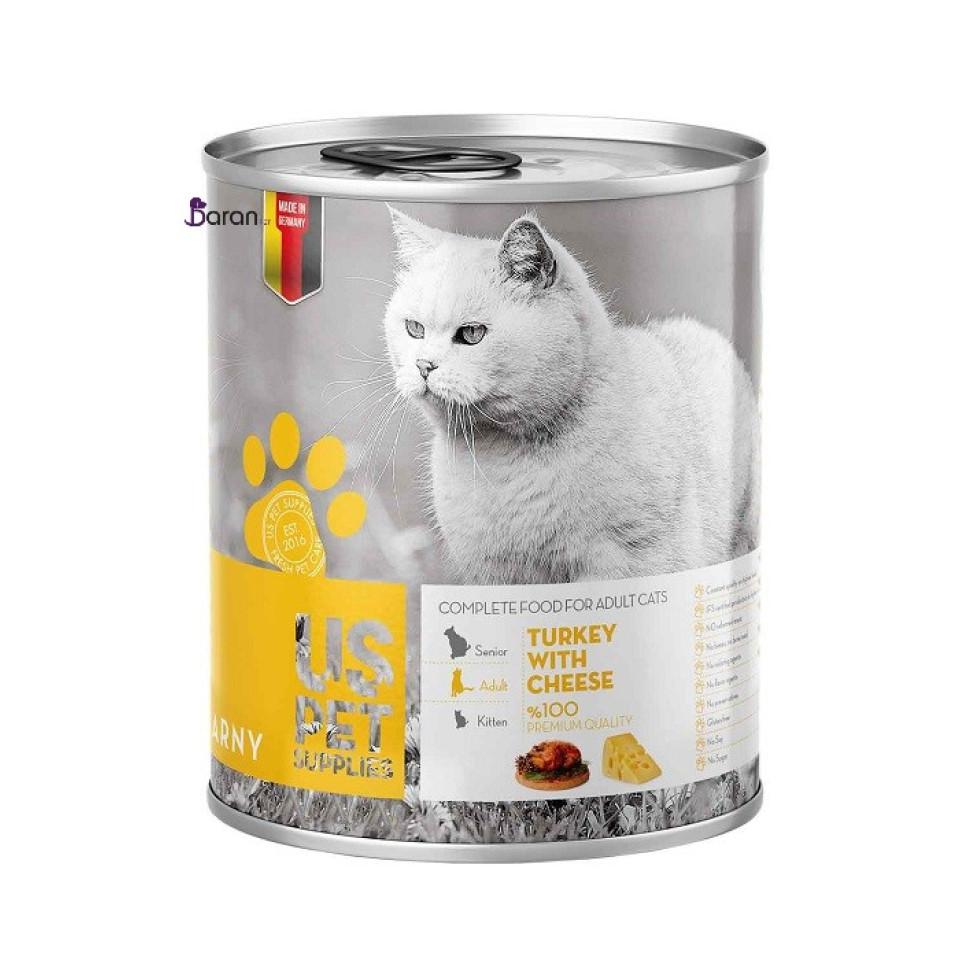 کنسرو گربه حاوی گوشت بوقلمون و پنیر یو اس پت (400 گرم)