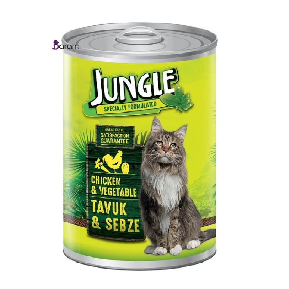 کنسرو گربه جانگل حاوی مرغ و سبزیجات (415 گرم)
