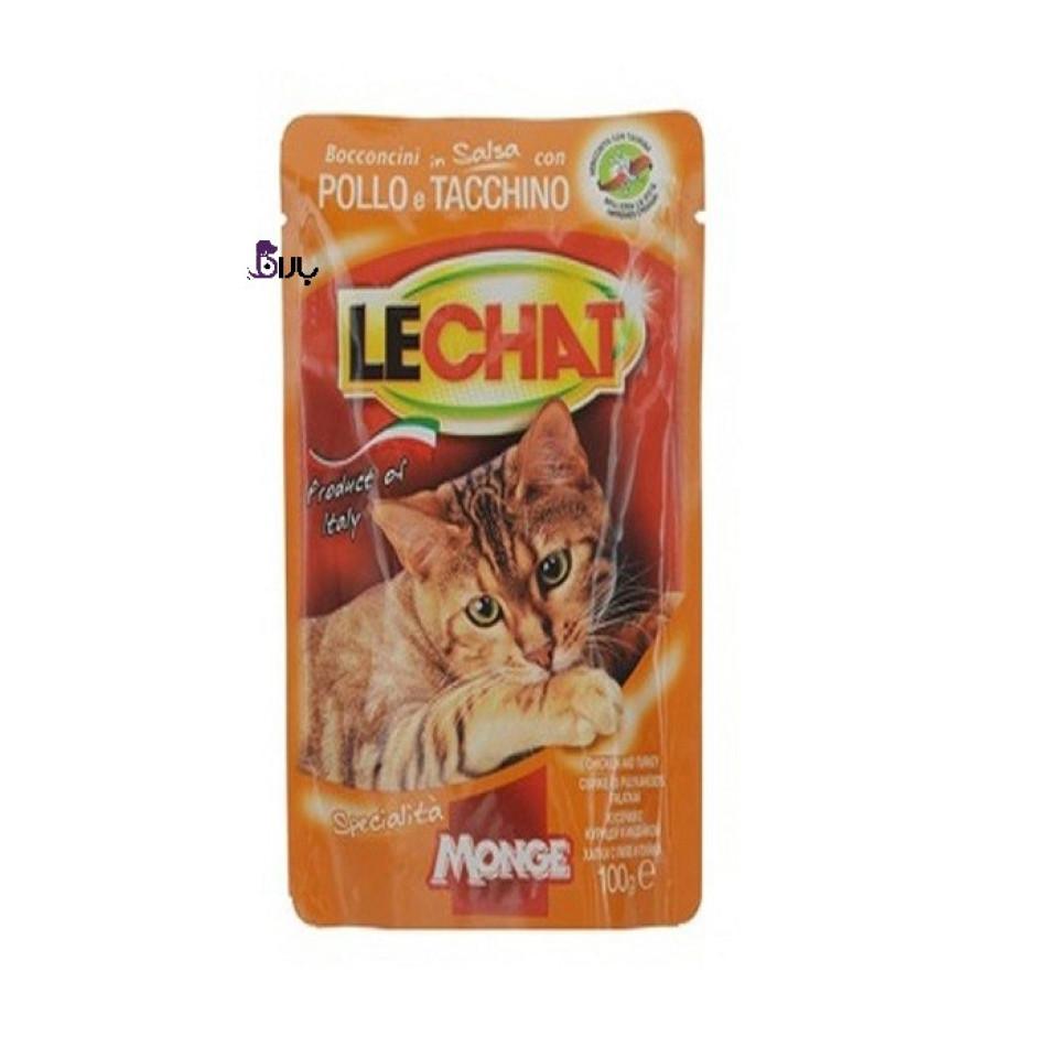 پوچ گربه مرغ و بوقلمون لچت (100 گرم)