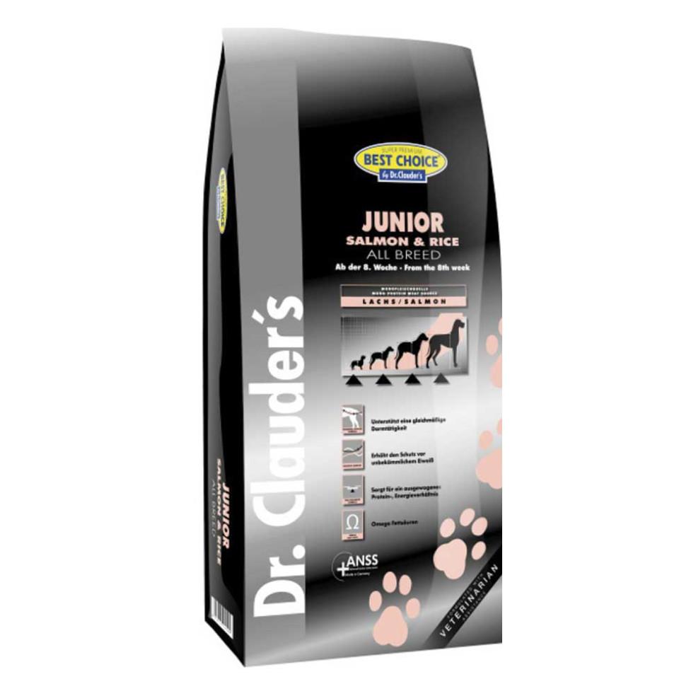 غذای خشک سگ دکتر کلادرز مخصوص توله سگ بداشتها یا حساس :: Dr. Clauder's Best Choice Junior Salmon & Rice