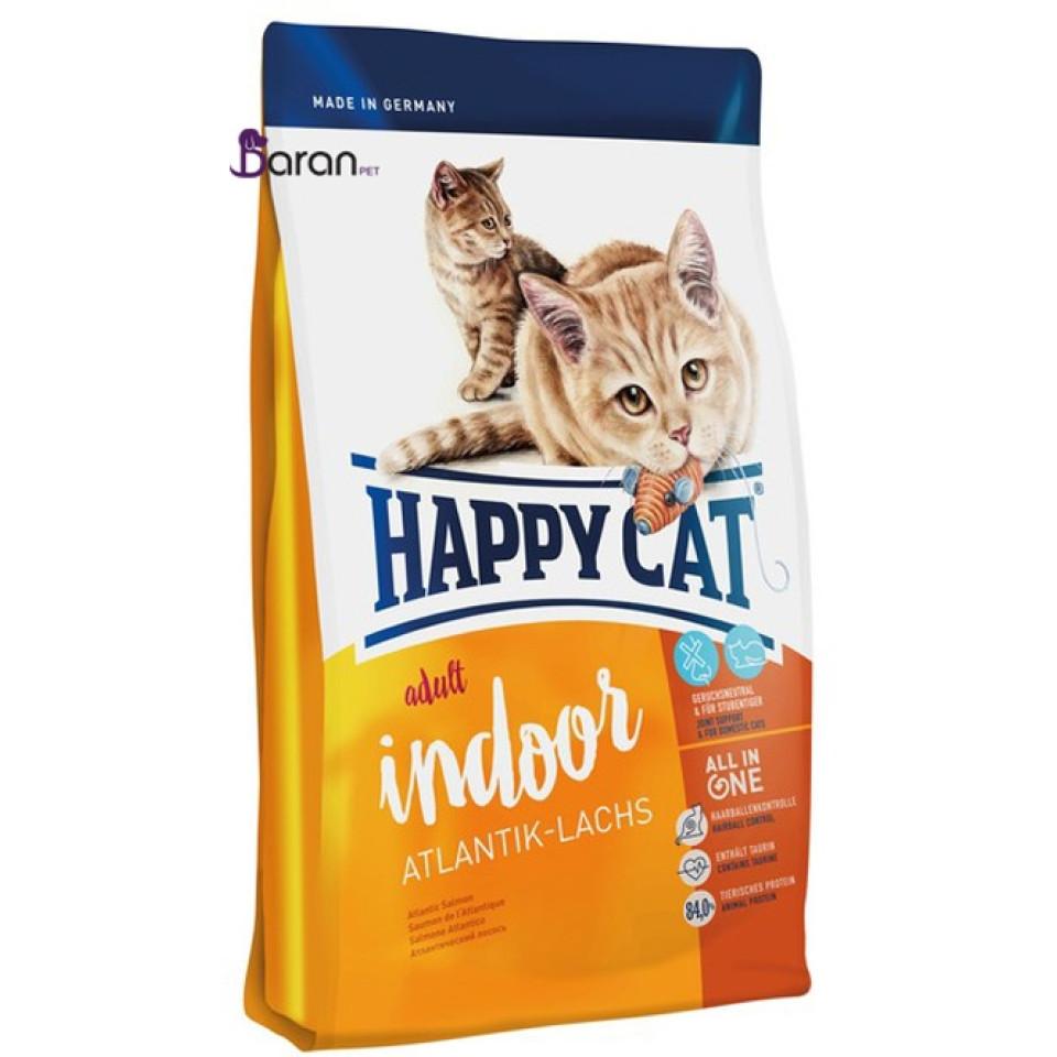 غذای خشک گربه هپی کت ایندور حاوی ماهی سالمون