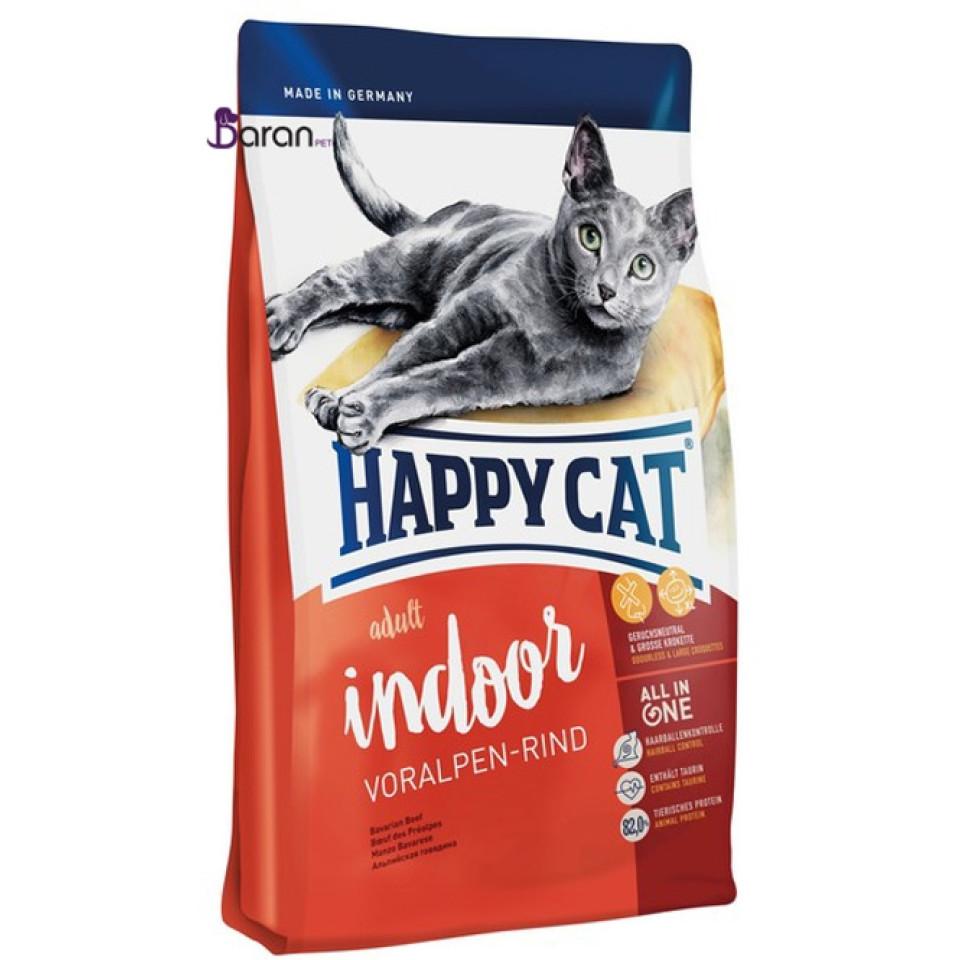 غذای خشک گربه هپی کت ایندور حاوی گوشت گوساله