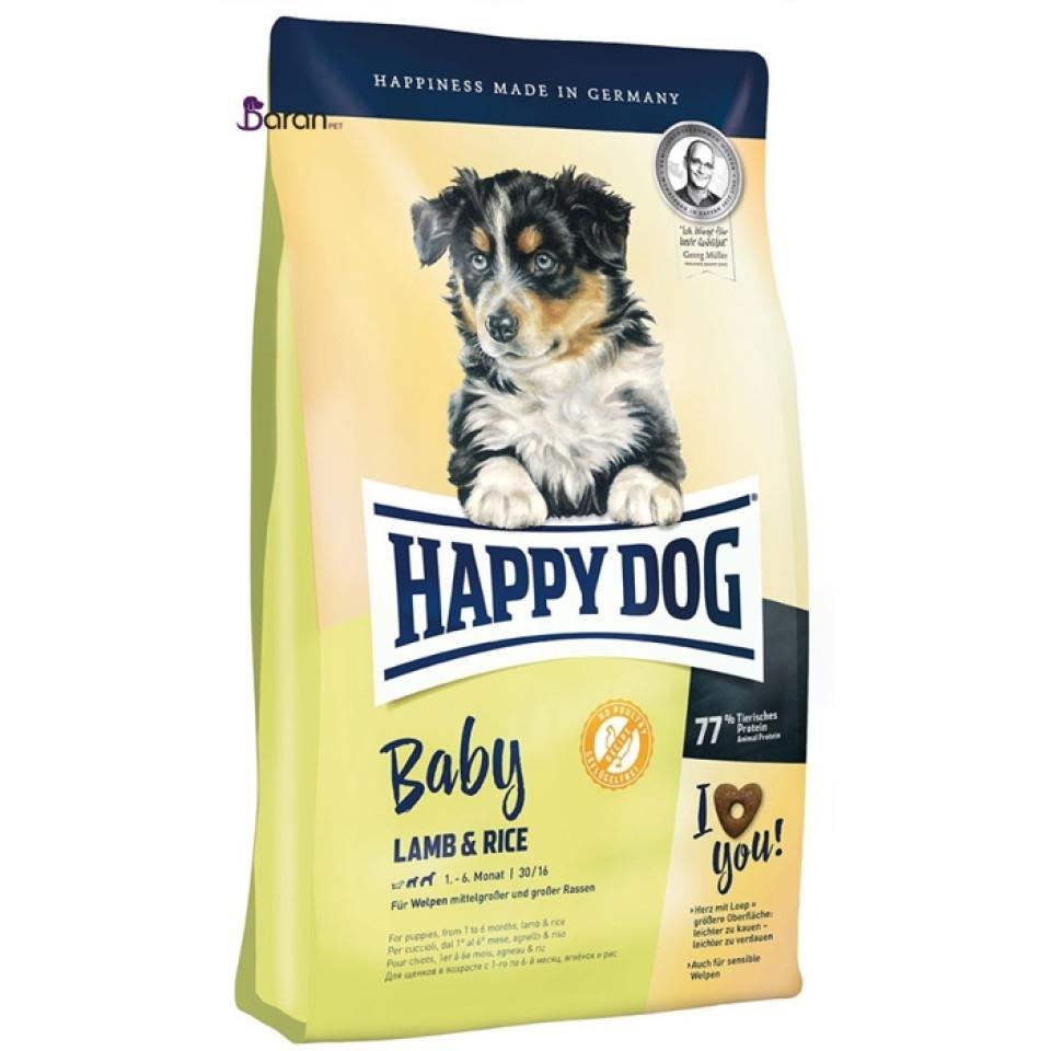 غذای توله سگ هپی داگ حاوی گوشت بره و برنج (4 کیلوگرم)