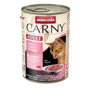 کنسرو گربه کارنی حاوی گوشت گاو، بوقلمون و ميگو (۴۰۰ گرم)