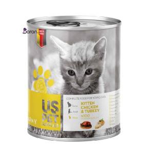 کنسرو بچه گربه یو اس پت حاوی مرغ و بوقلمون (۴۰۰ گرم)