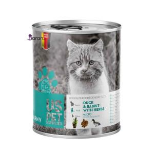 کنسرو گربه حاوی گوشت اردک و خرگوش با گیاه یو اس پت (۴۰۰ گرم)
