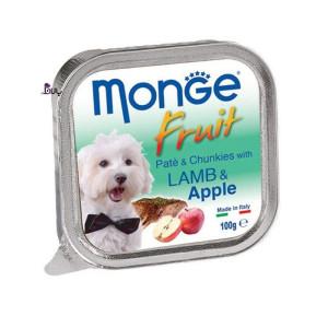 خوراک سگ مونژه حاوی گوشت بره و سیب (۱۰۰ گرم)