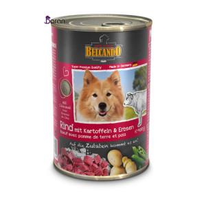 کنسرو سگ بلکاندو حاوی گوشت گوساله با سیب زمینی و لوبیا سبز (۴۰۰ گرم)