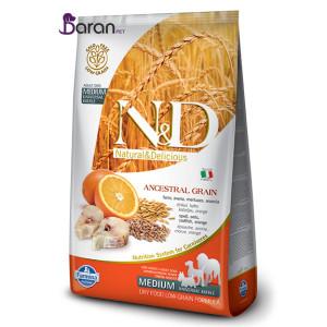 غذای سگ متوسط ان اند دی حاوی ماهی کاد و پرتقال (۲/۵ کیلوگرم)