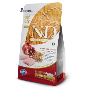 غذای گربه عقیم ان اند دی حاوی مرغ و انار (۱۰ کیلوگرم)